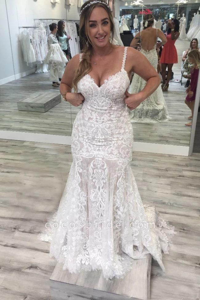 Spaghetti Straps Mermaid V Neck Backless Lace Wedding Dress