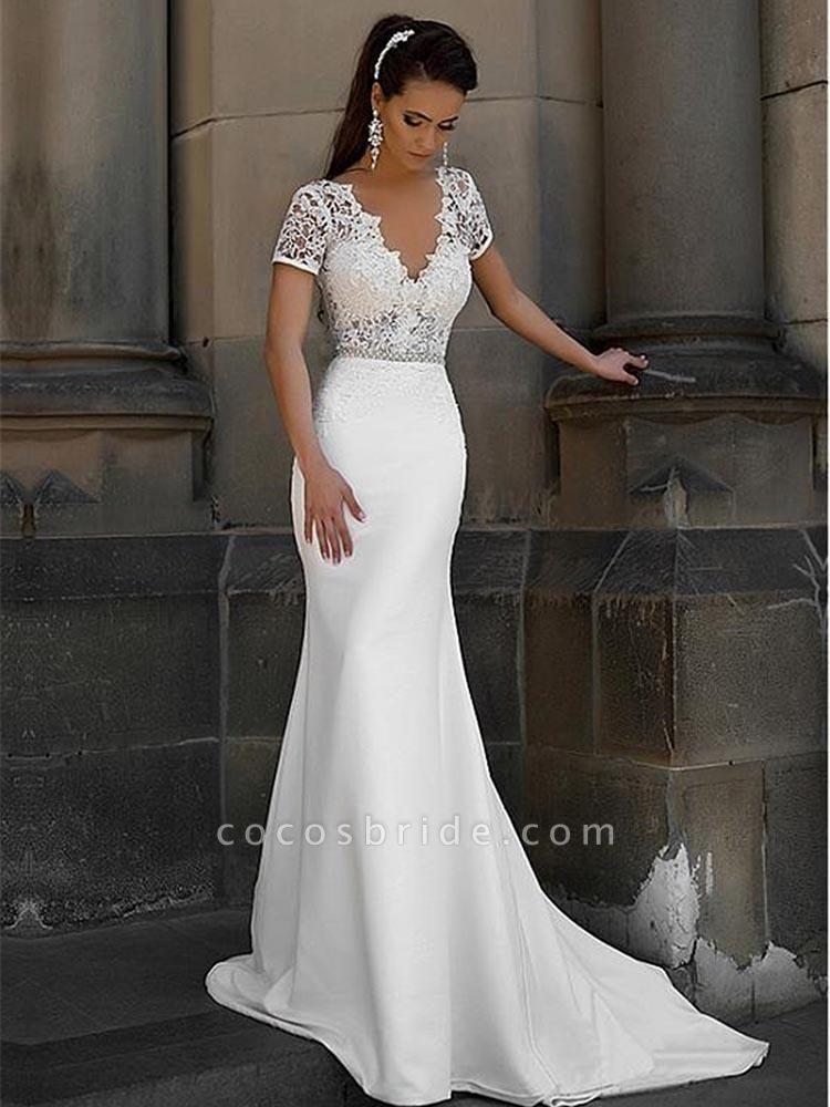 Gorgeous V-neck Short Sleeves Lace Mermaid Wedding Dresses