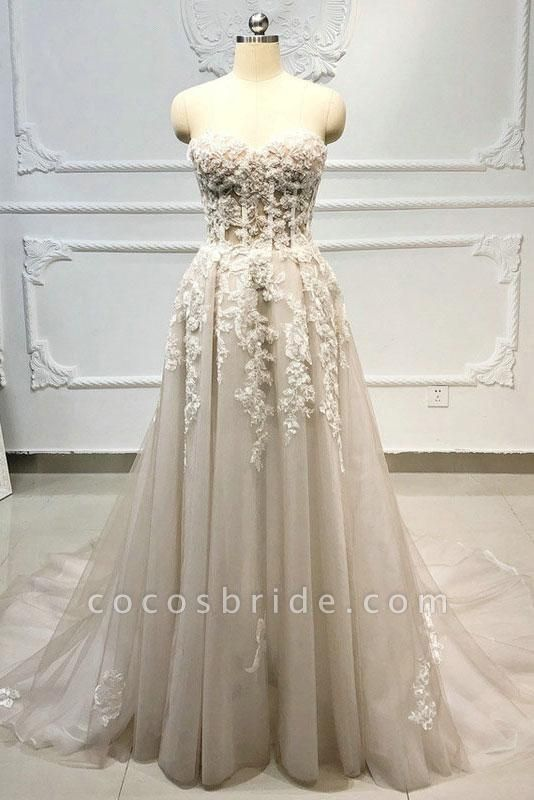 Strapless Lace-up Beaded Appliques A-line Wedding Dress