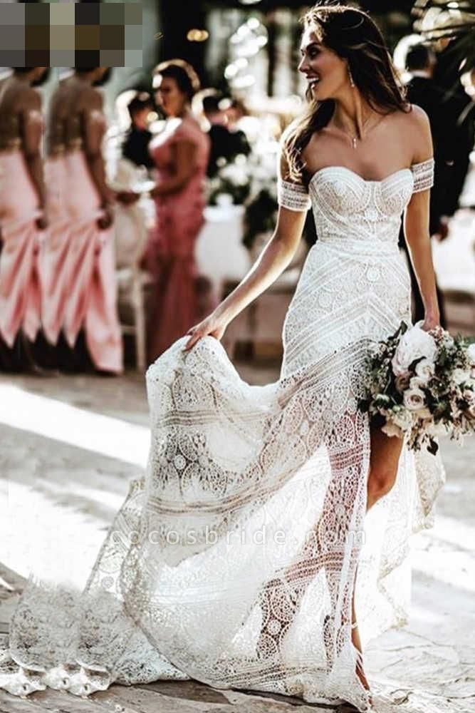 Modest Sweetheart Neck Lace Beach Sexy Boho Wedding Dress