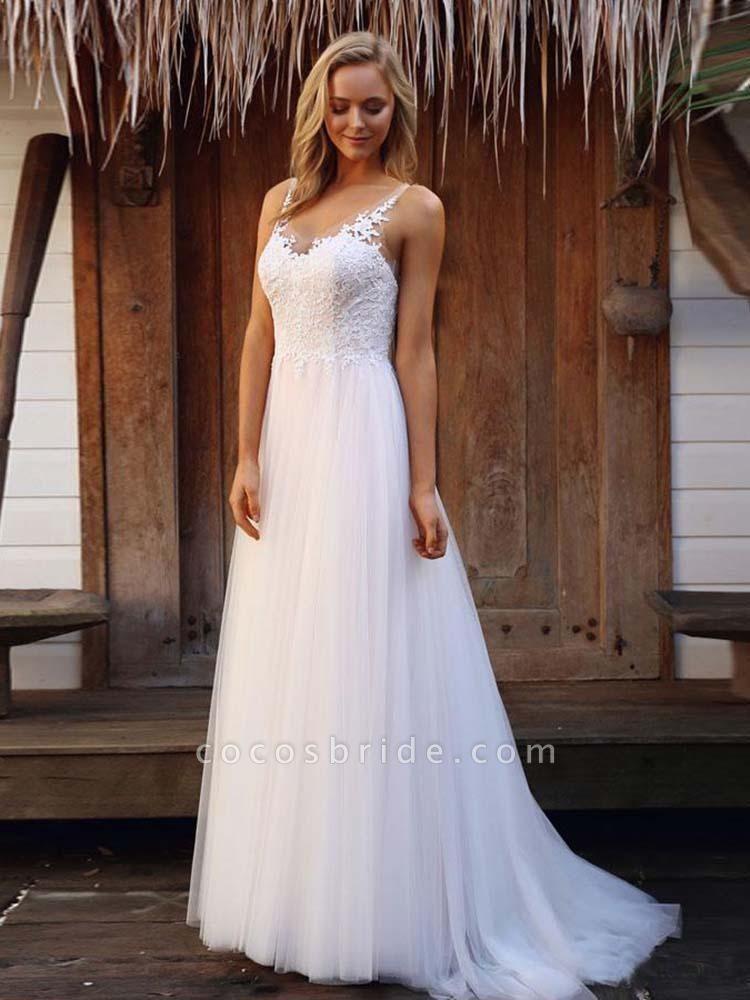 V-Neck Lace Tulle Wedding Dresses