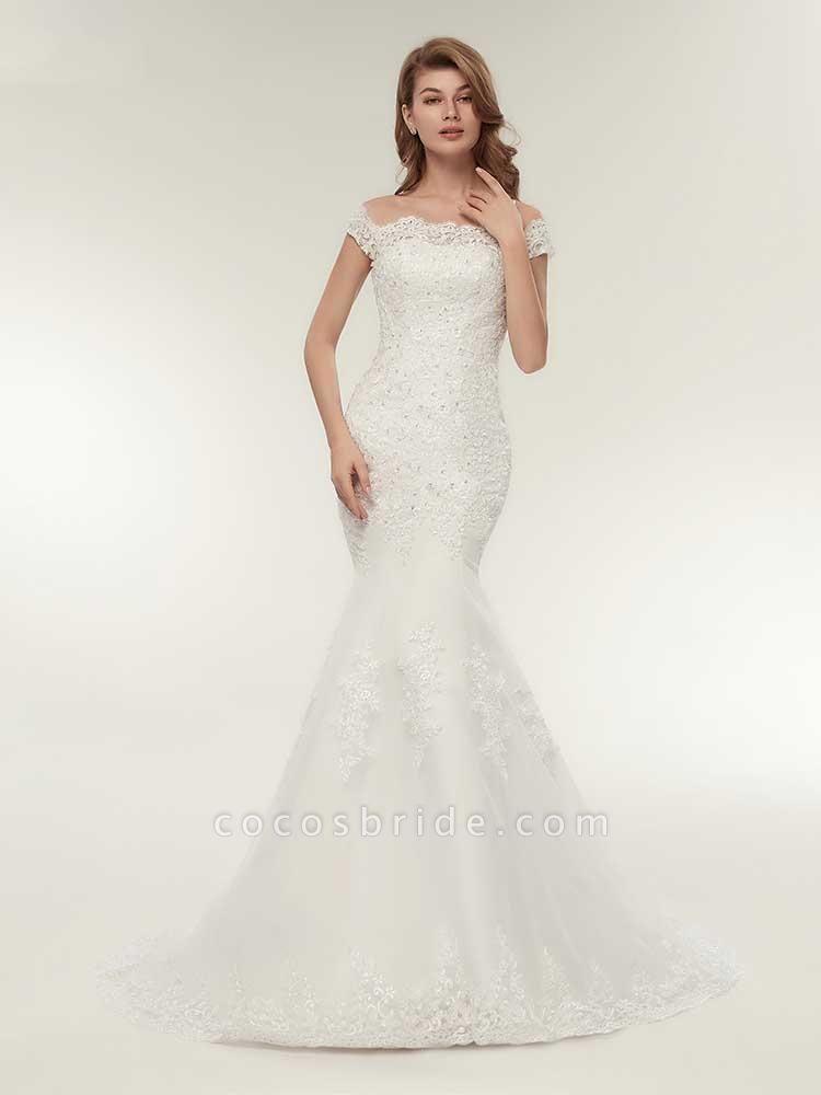 Off-The-Shoulder Bateau Mermaid Wedding Dresses