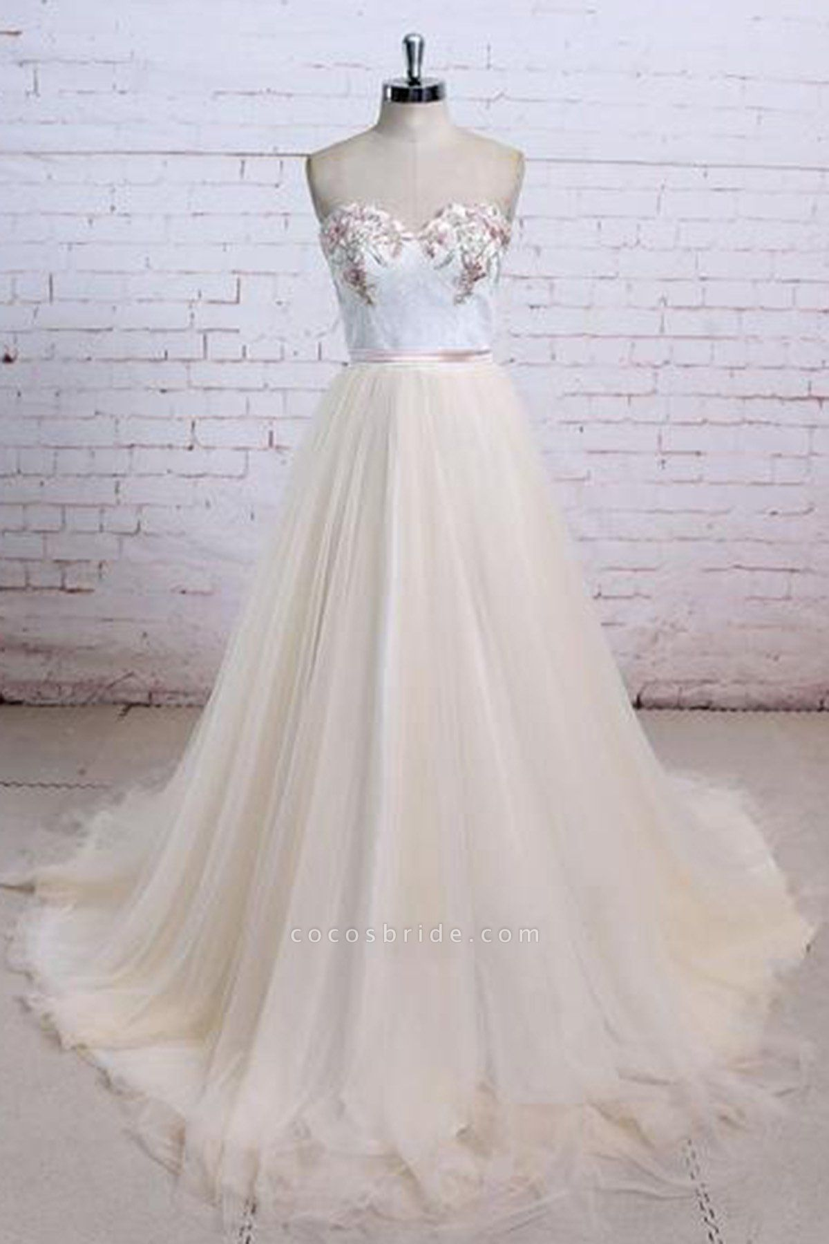 Champagne Tulle Long Strapless Simple Wedding Dress