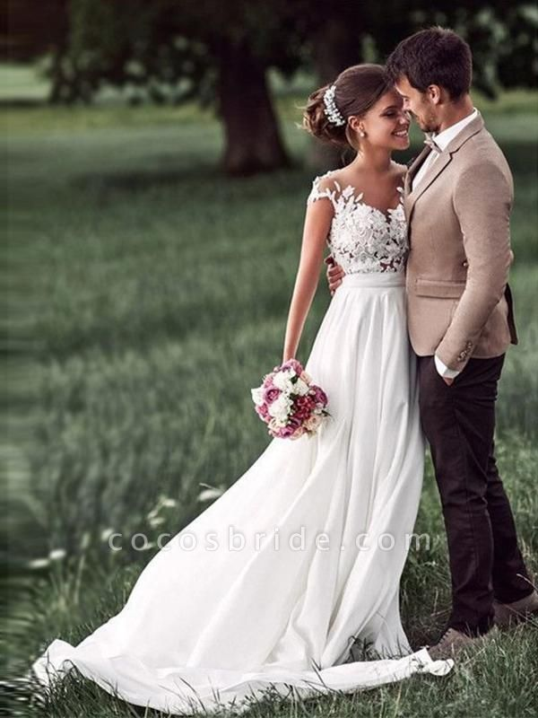 Affordable Cap Sleeves Lace Covered Button Wedding Dresses