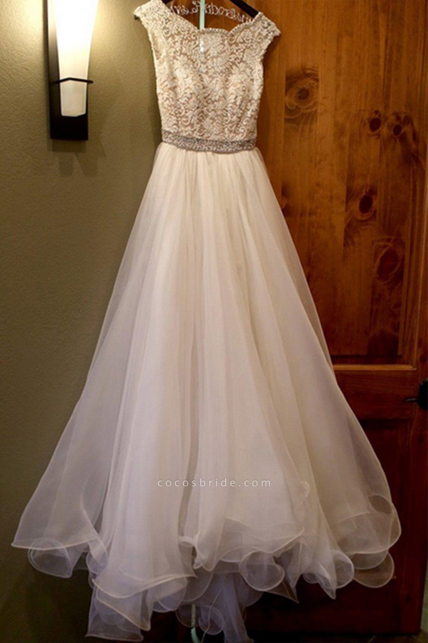 White Organza Round-Neck Lace Open Back Wedding Dresses
