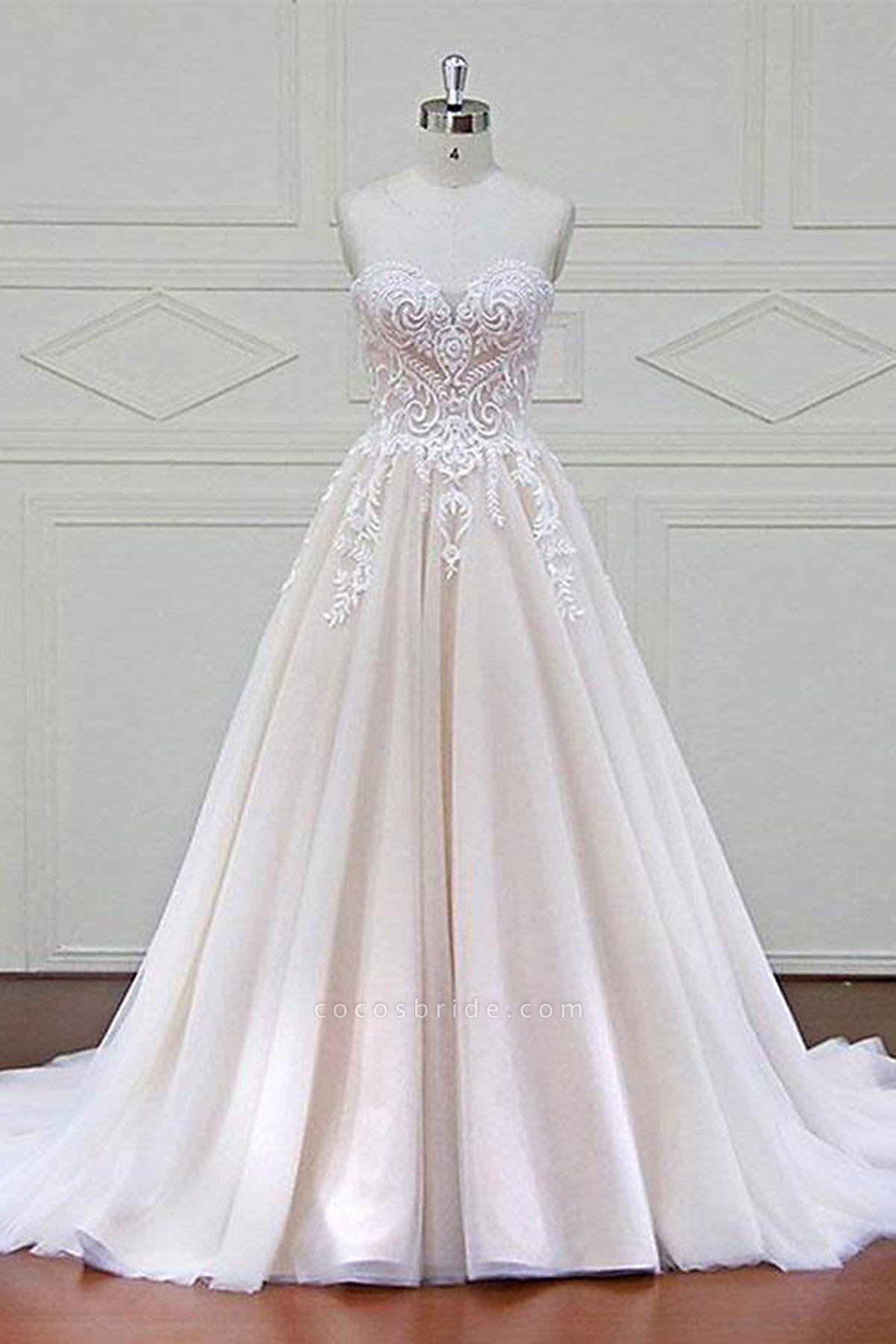 Ivory Tulle Sweetheart A Line Long Wedding Dress