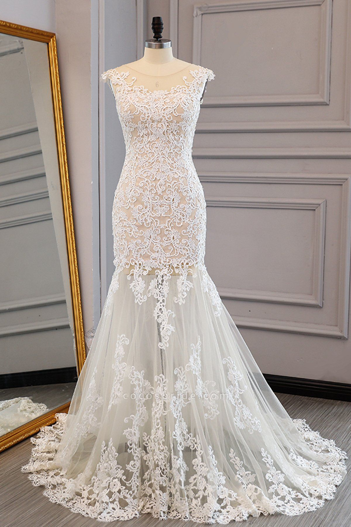 Ivory Lace Long Mermaid Wedding Dress