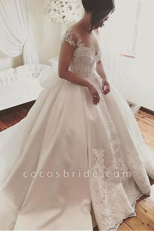 Fascinating Satin Sheer Neckline Ball Gown Appliques Bowknot Wedding Dress