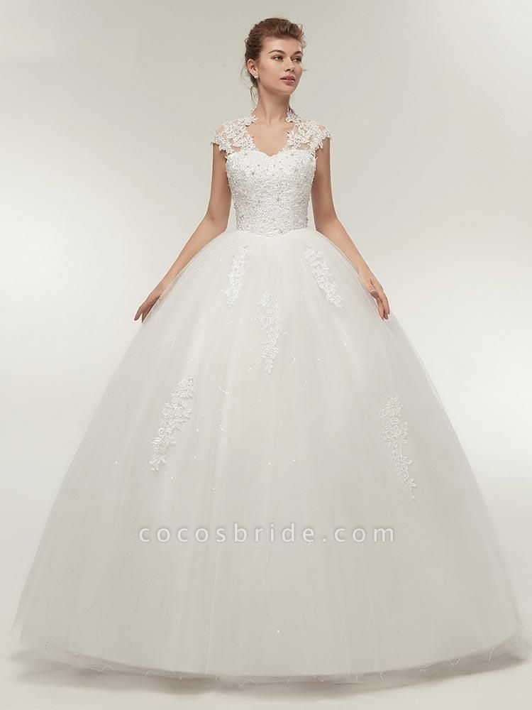V-Neck Cap Sleeves Ball Gown Lace Wedding Dresses