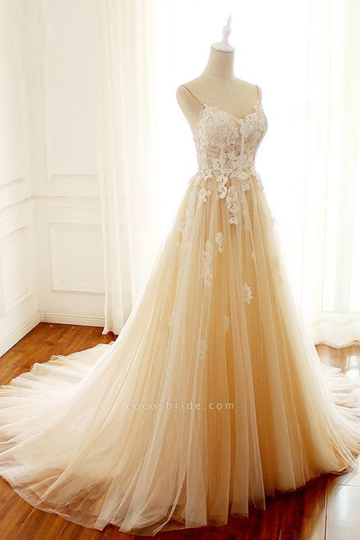 Sweetheart Creamy Tulle Spaghetti Sweep Train Wedding Dress