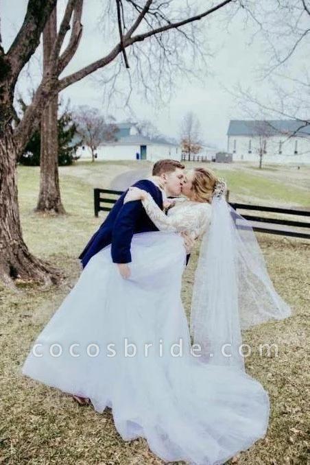 Vintage Illusion Long Sleeve Lace Boho Tulle Wedding Dress