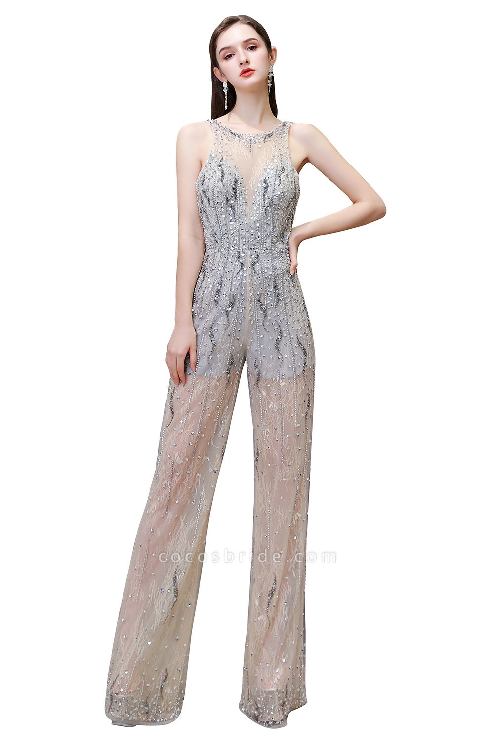 Jewel Sleeveless Tulle Evening Jumpsuit with Sequins