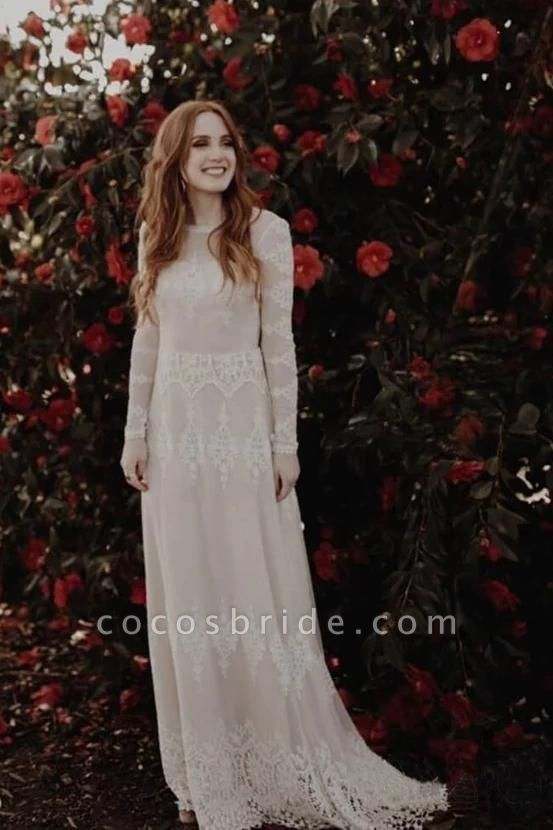 Long Sleeve Lace Beach Country Wedding Dress