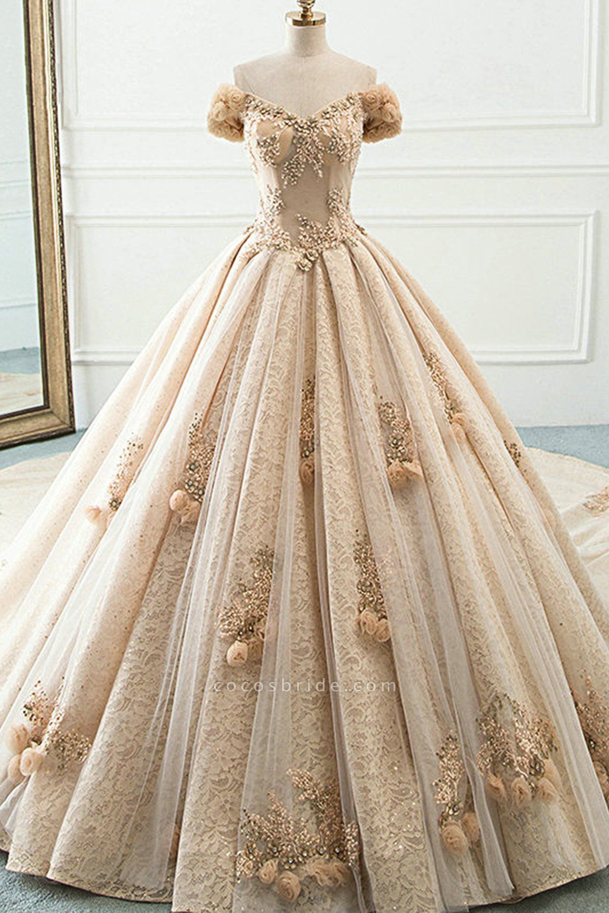 Princess Champagne Lace Off Shoulder Court Train Beaded Wedding Dress