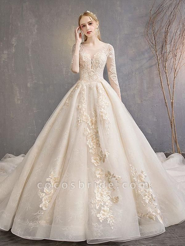 Long Sleeve Lace-Up Applique Ball Gown Wedding Dresses