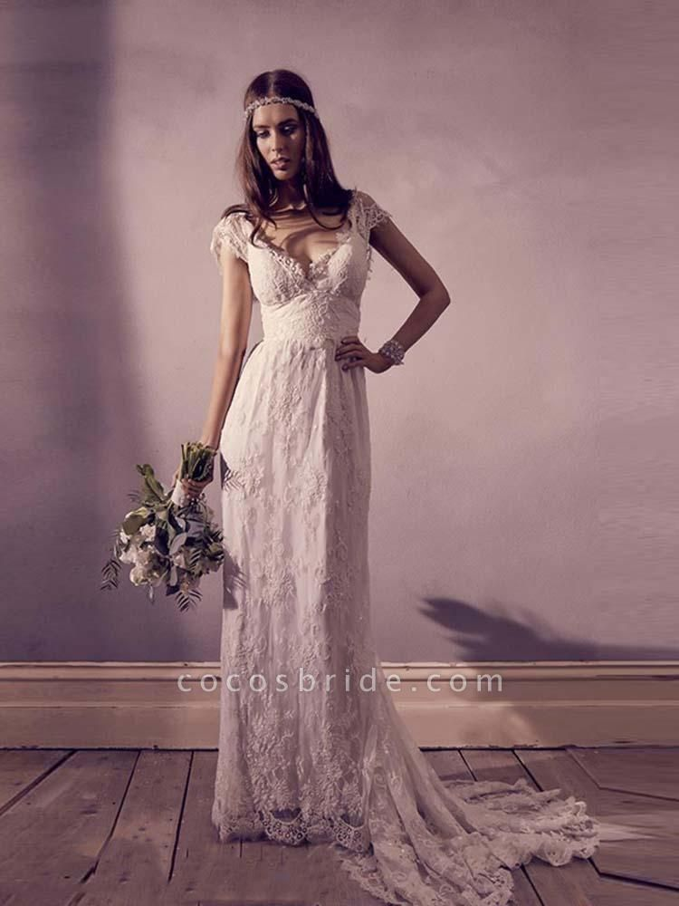 Gorgeous V-Neck Cap Sleeves Lace A-Line Wedding Dresses