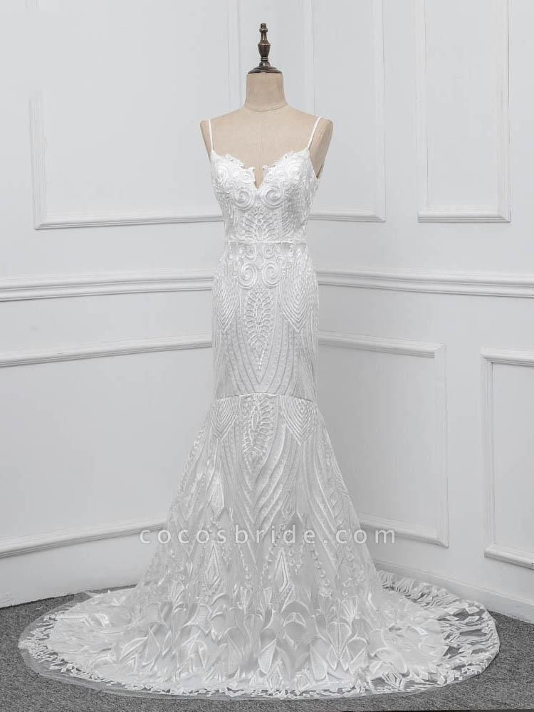 Elegant Spaghetti-Strap Backless Mermaid Wedding Dresses