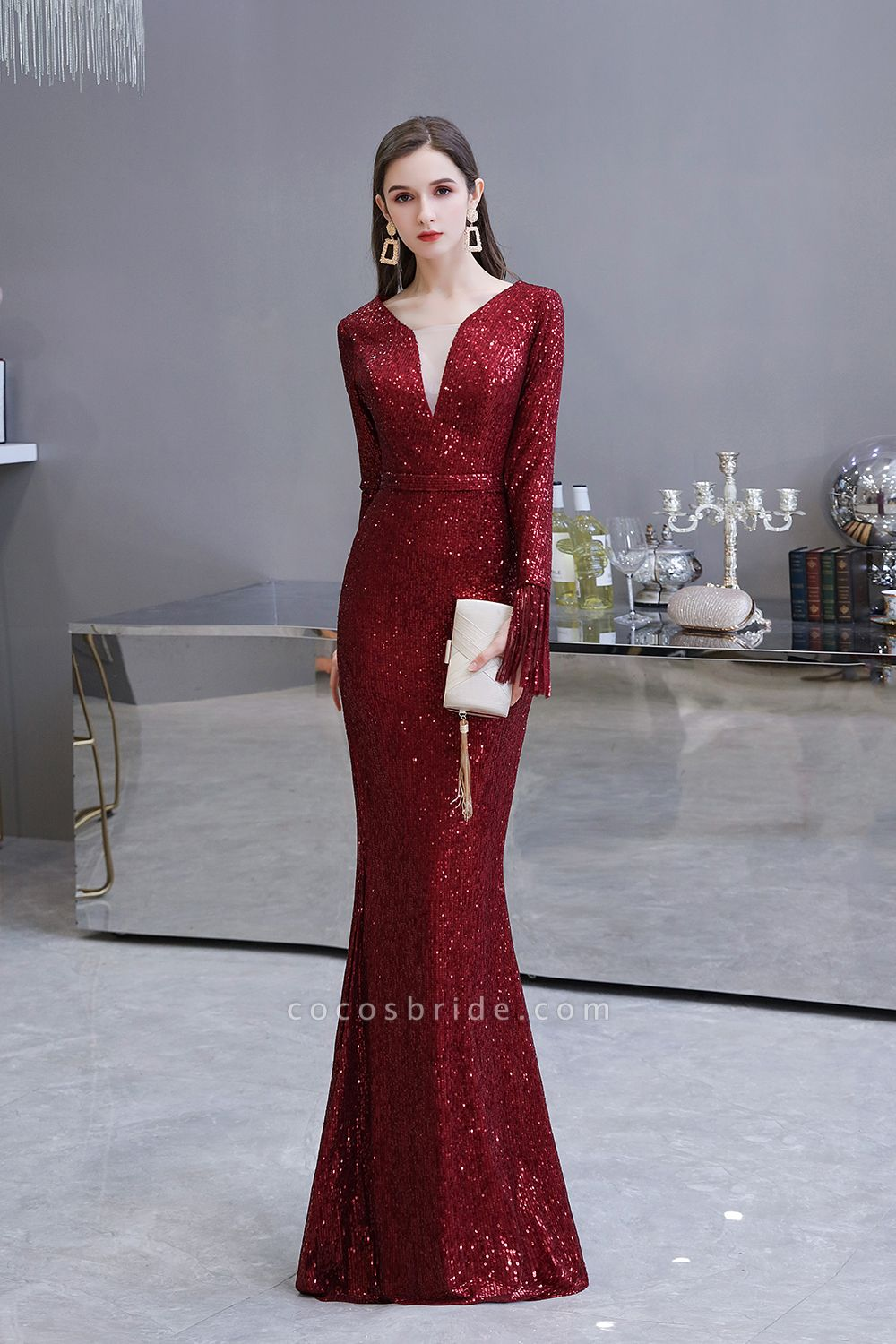 Gorgeous Sequins Long Sleeve V-Neck Mermaid Evening Gowns