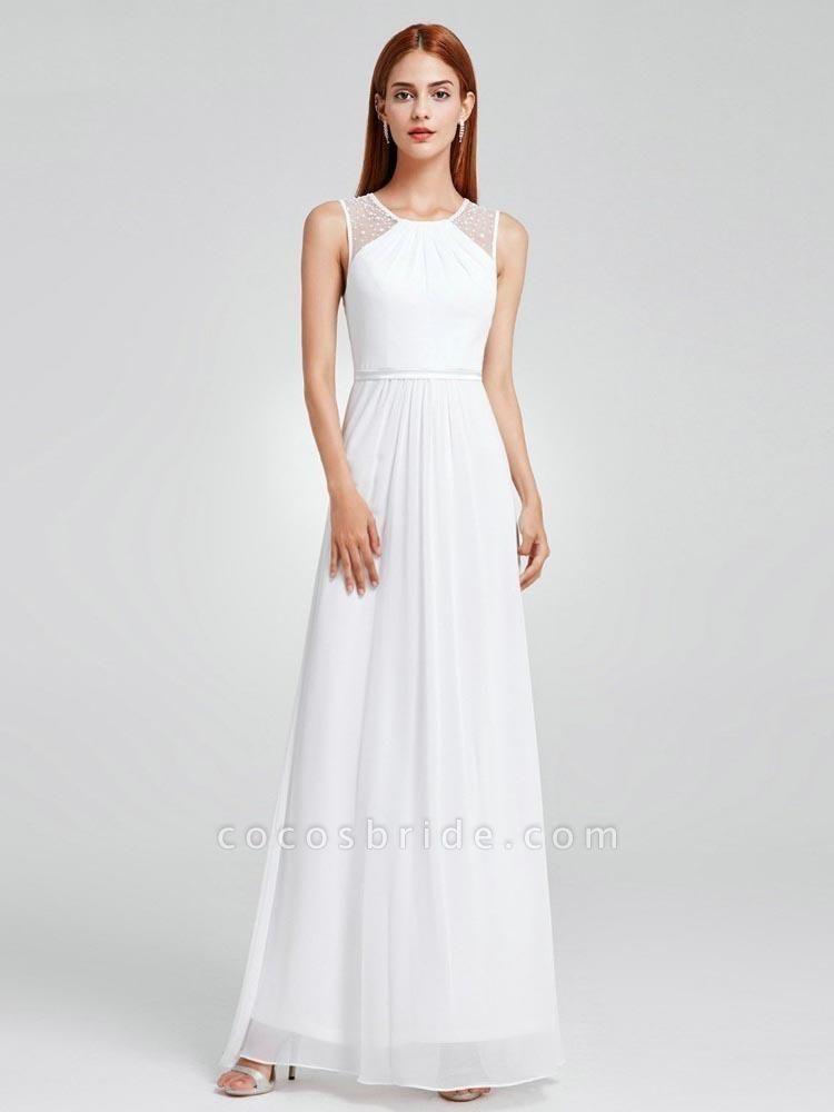 Elegant Ruffles Chiffon Floor Length Wedding Dresses