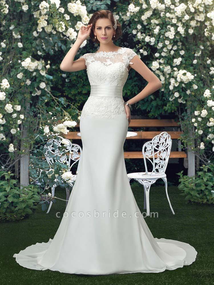 Fashion Cap Sleeve Lace Backless Mermaid Wedding Dresses