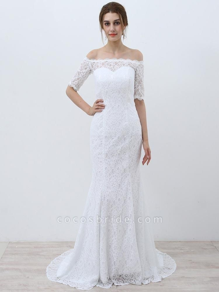 Elegant Half-Sleeves Lace Mermaid Wedding Dresses