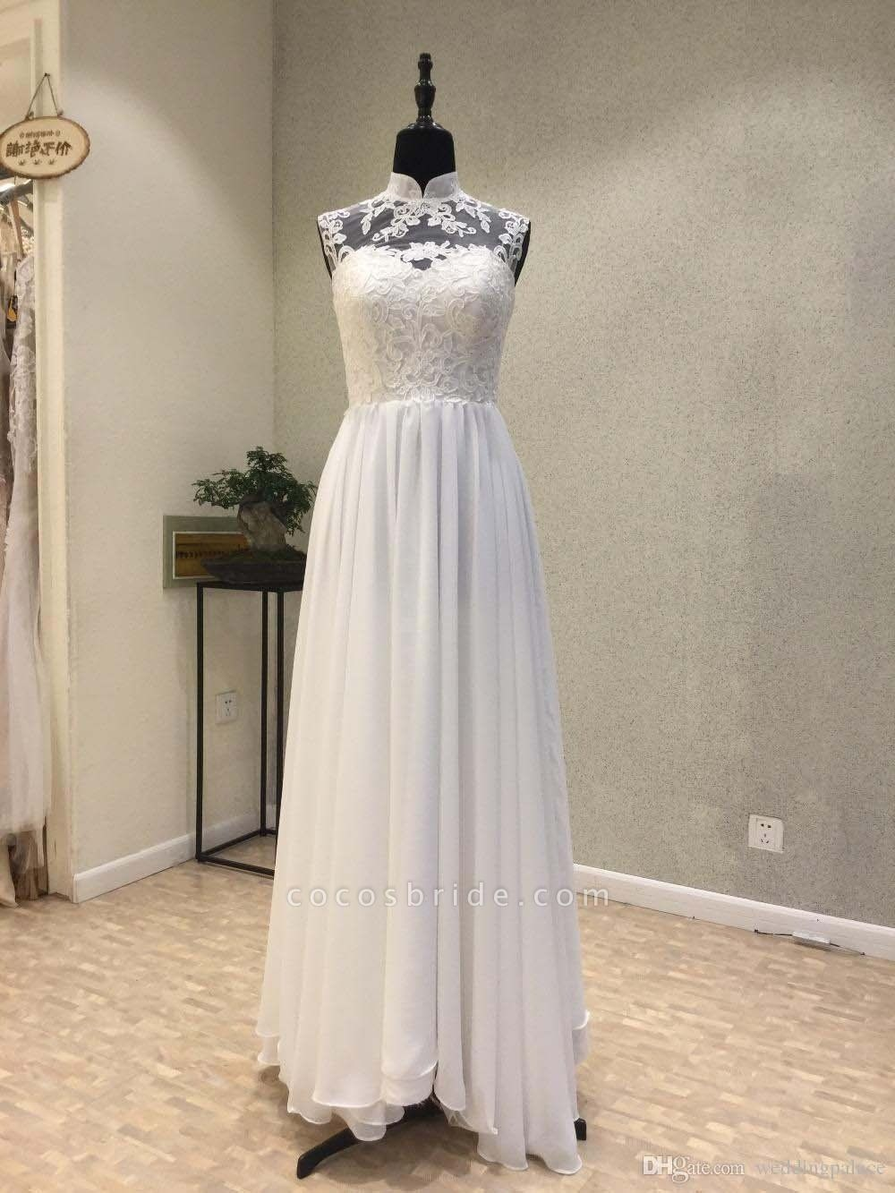 High Neck Chiffon A-Line Wedding Dresses Lace Button