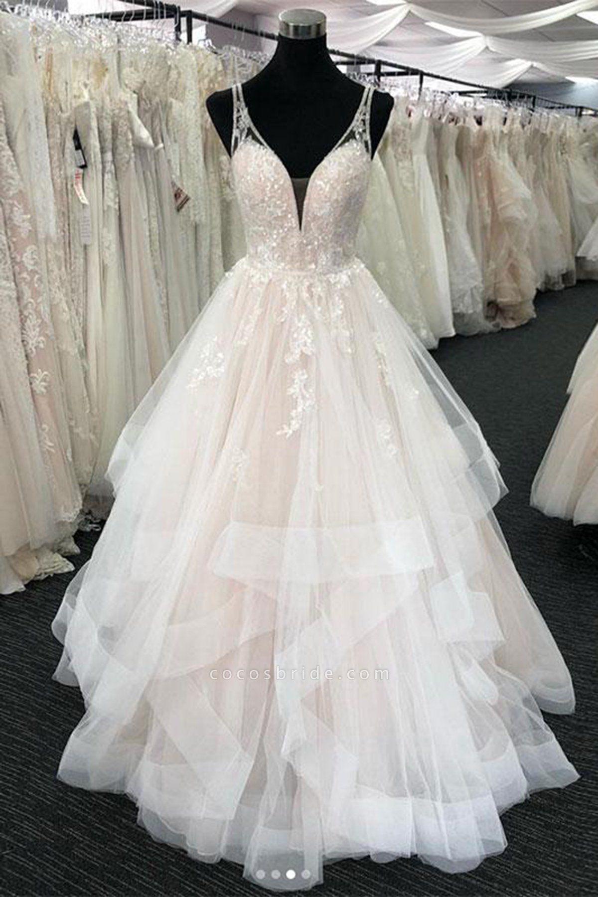 White Tulle V Neck Open Back Long Layered  Wedding Dress