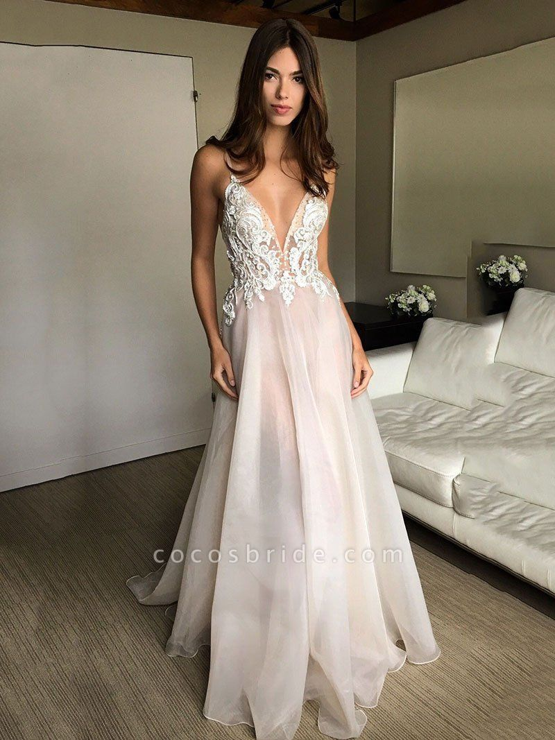 Deep V-neck Spaghetti Straps Lace Appliqued Beach Wedding Dress
