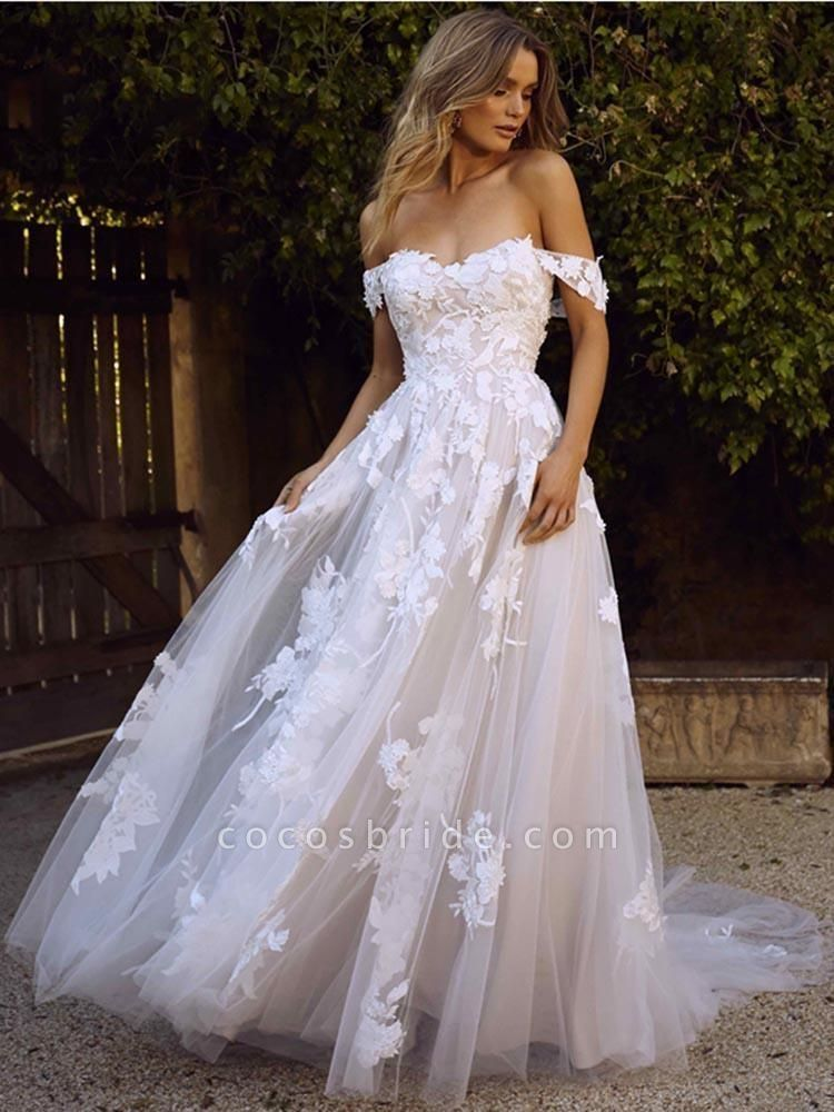 Gorgeous Open Back Appliques Tulle A-line Wedding Dresses
