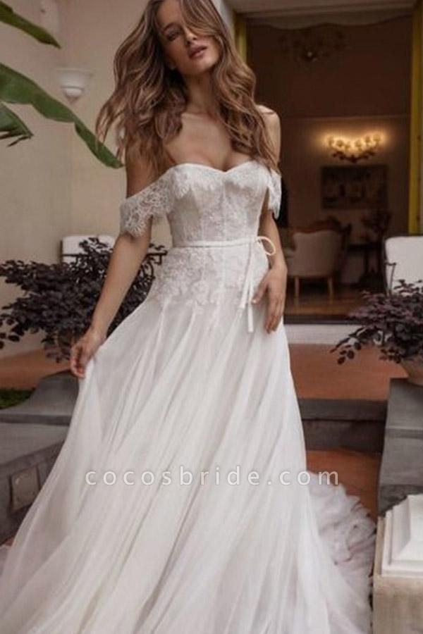 A-line Off Shoulder Beach Lace Boho Wedding Dress