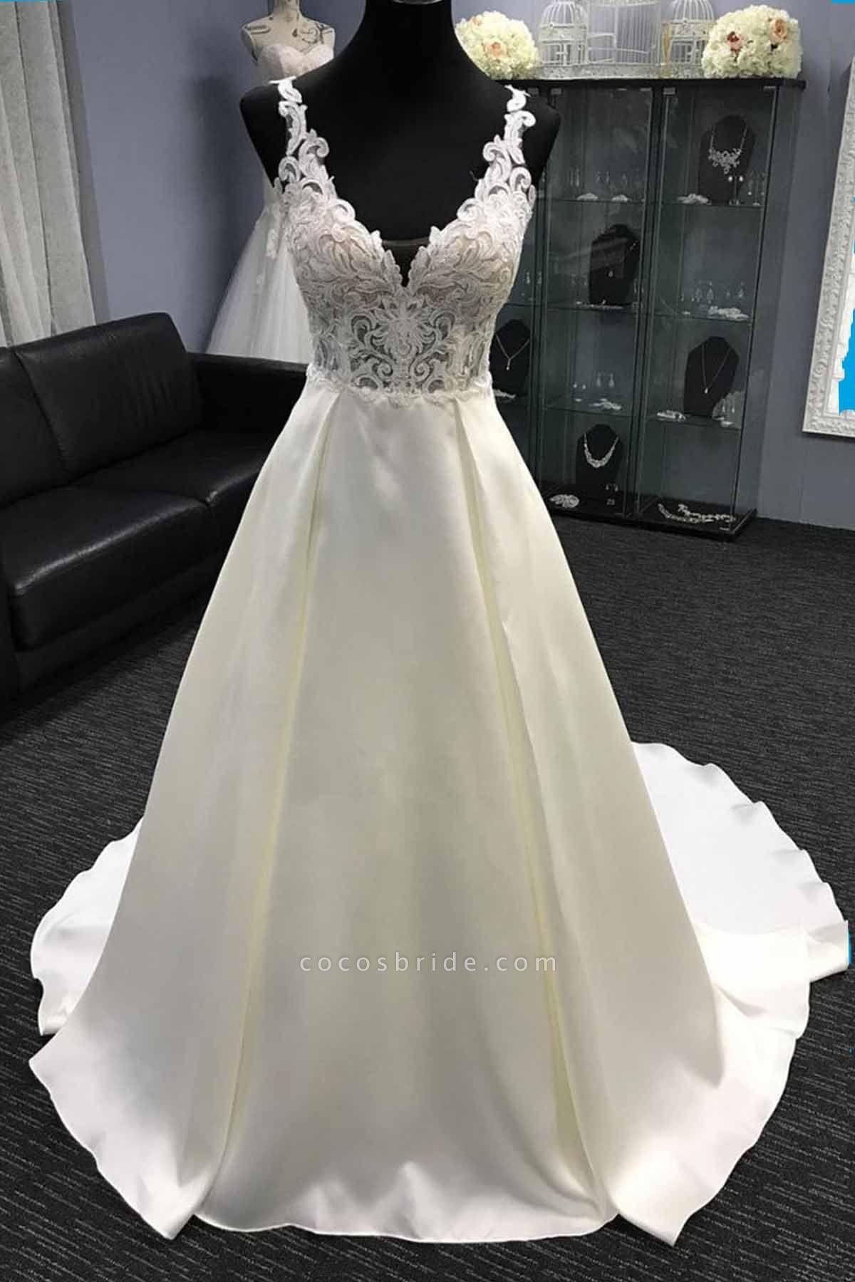 White Satin V Neck Long Halter A-Line Wedding Dress
