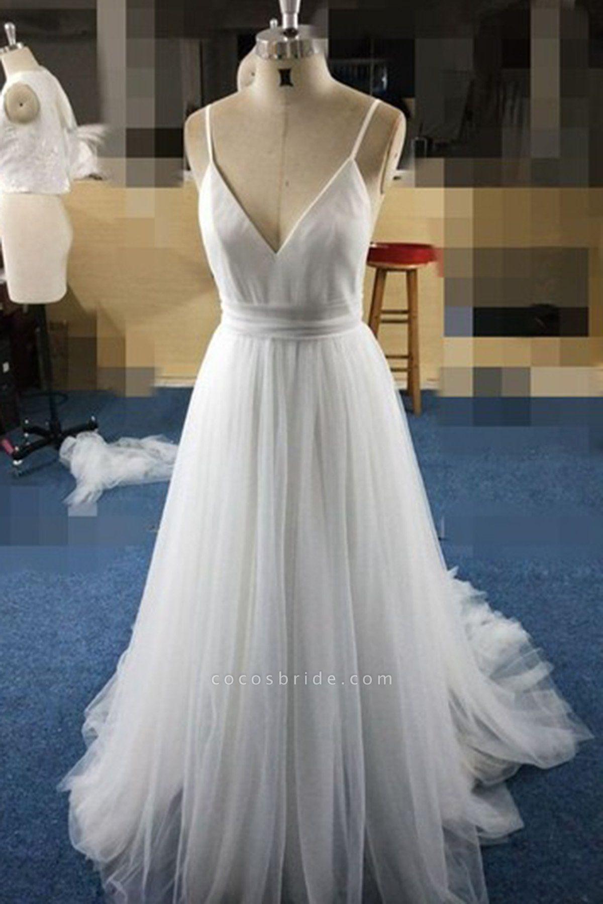 Simple White Tulle V Neck Spaghetti Straps Long Wedding Dress