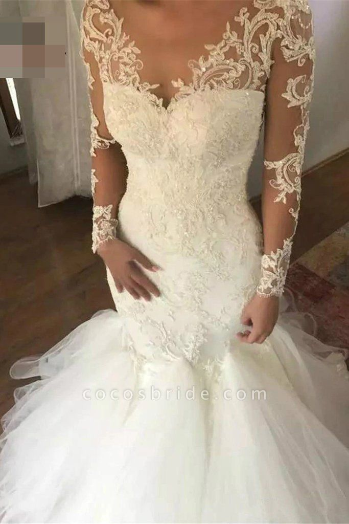 Mermaid Sleeves V Neck Long Lace Appliques Wedding Dress