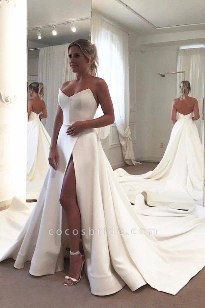Strapless Bodice Corset Leg Slit Satin Backless Long Wedding Dress