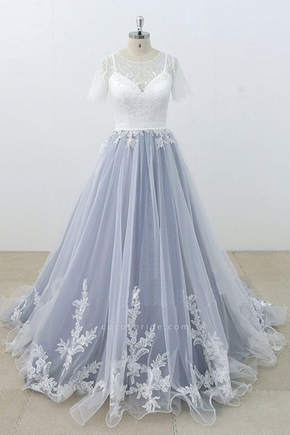 Blue Gray Tulle Ivory Lace Short Sleeve Beach Wedding Dress