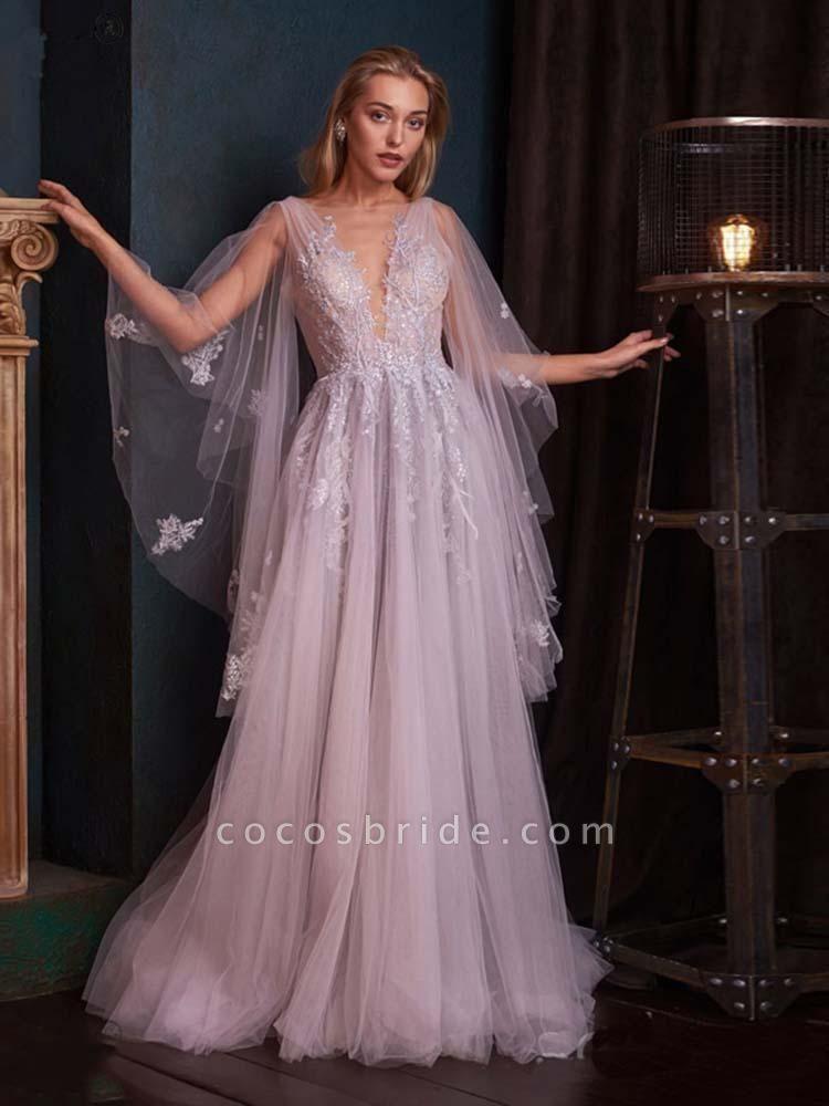 V-Neck Backless Tulle Ruffles Wedding Dresses