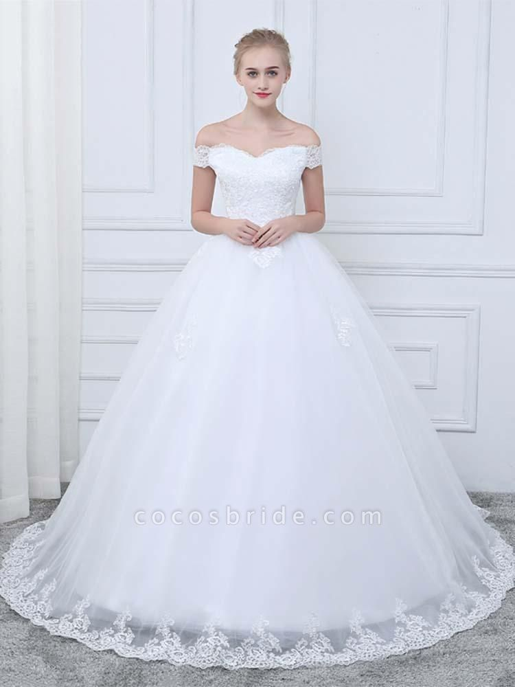 Off-the-Shoulder Lace-Up Ball Gown Wedding Dresses