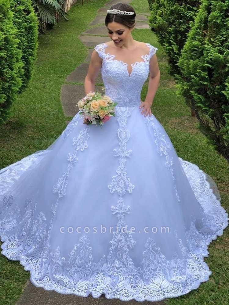 Exquisite Scoop Short Sleeve Zipper Lace Wedding Dresses