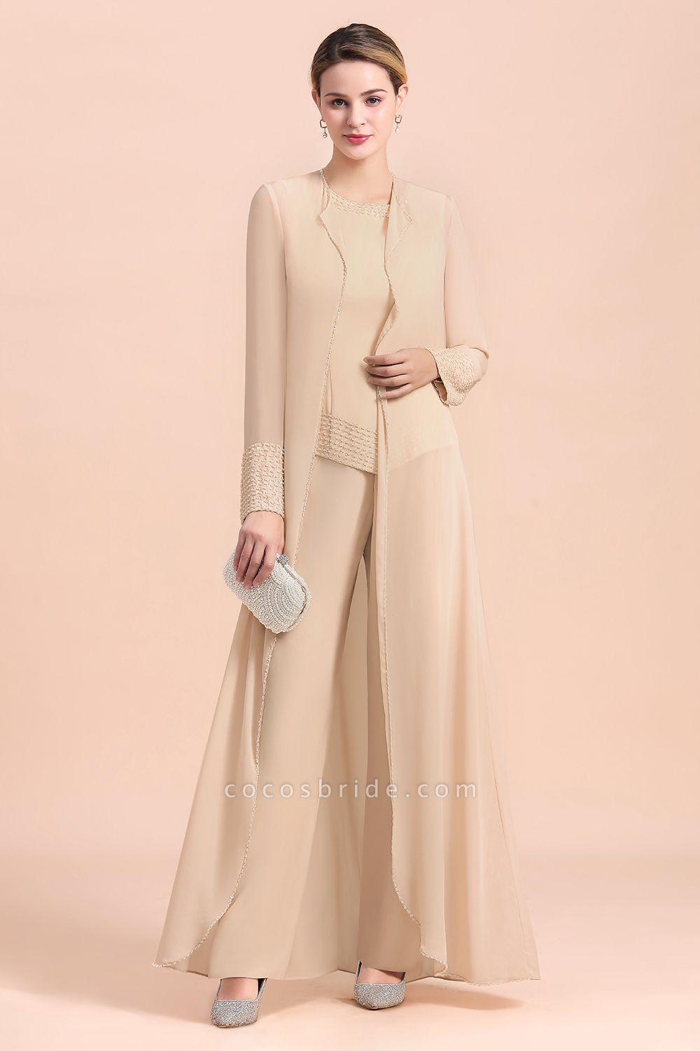 Two Pieces Champagne Long Sleeve Chiffon Mother of the Bride Dress With Jacket