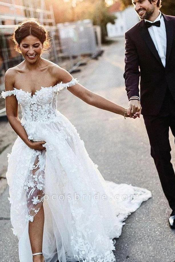 White Off the Shoulder Lace Beach Rustic Boho Wedding Dress