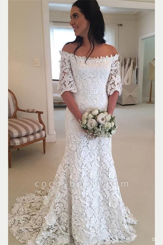 White Off the Shoulder Half Sleeves Sweep Train Lace Wedding Dress