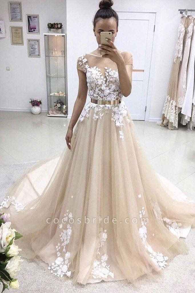 A-line Bateau Lace Appliqued Gold Sash Short Sleeves Wedding Dress
