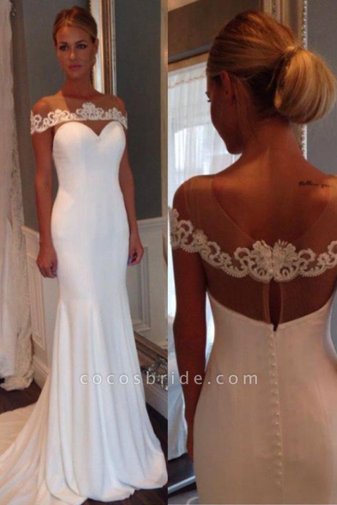 Unique Sheer Neck Lace Mermaid Wedding Dress