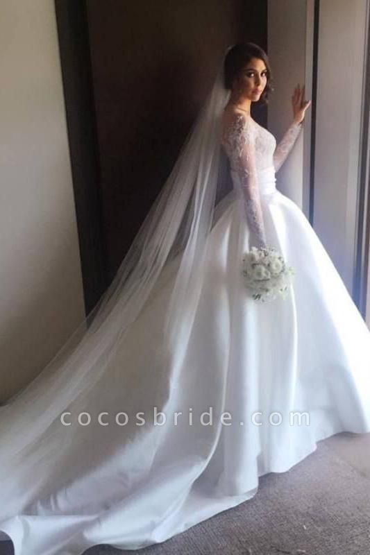 Romantic Lace Satin Skirt with Long Sleeves Illusion Back Wedding Dress