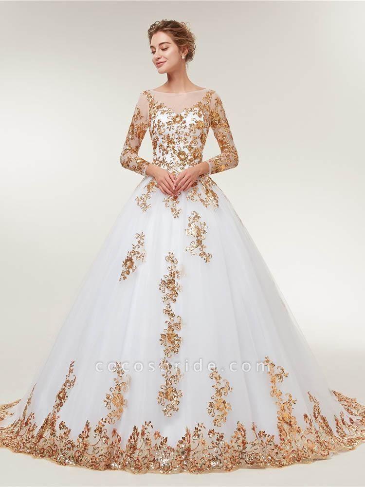 Golden Jewel Long Sleeve Ball Gown Wedding Dresses