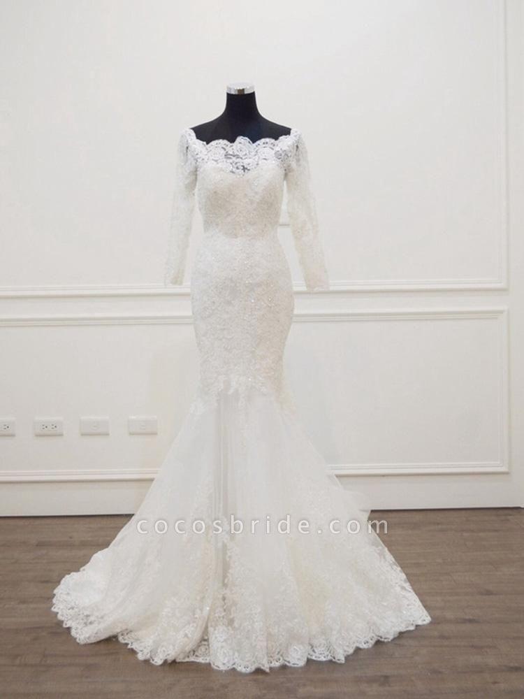 Modest Long Sleeves Sweep Train Lace Mermaid  Wedding Dresses
