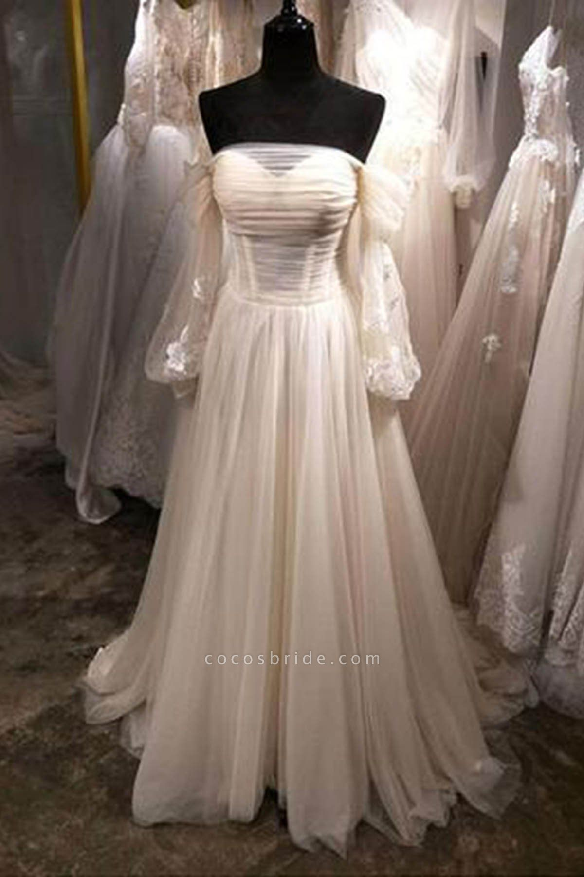 White Tulle Off Shoulder Long Sleeve See Through A-Line Wedding Dress