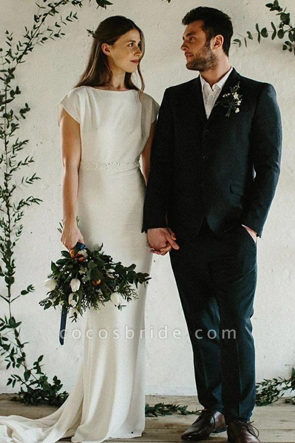 Sheath Cap Sleeves Long Simple Open Back Wedding Dress