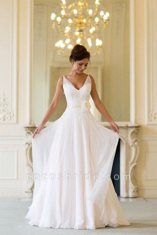 Floor Length V Neck Sleeveless Chiffon Beach Wedding Dress with Flowers