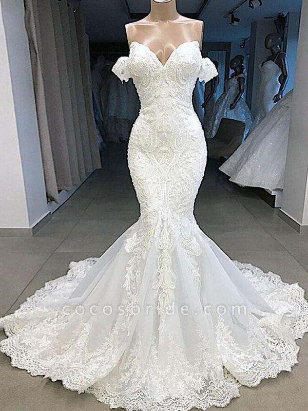 Elegant Sweetheart Short Sleeves Lace Mermaid Wedding Dresses